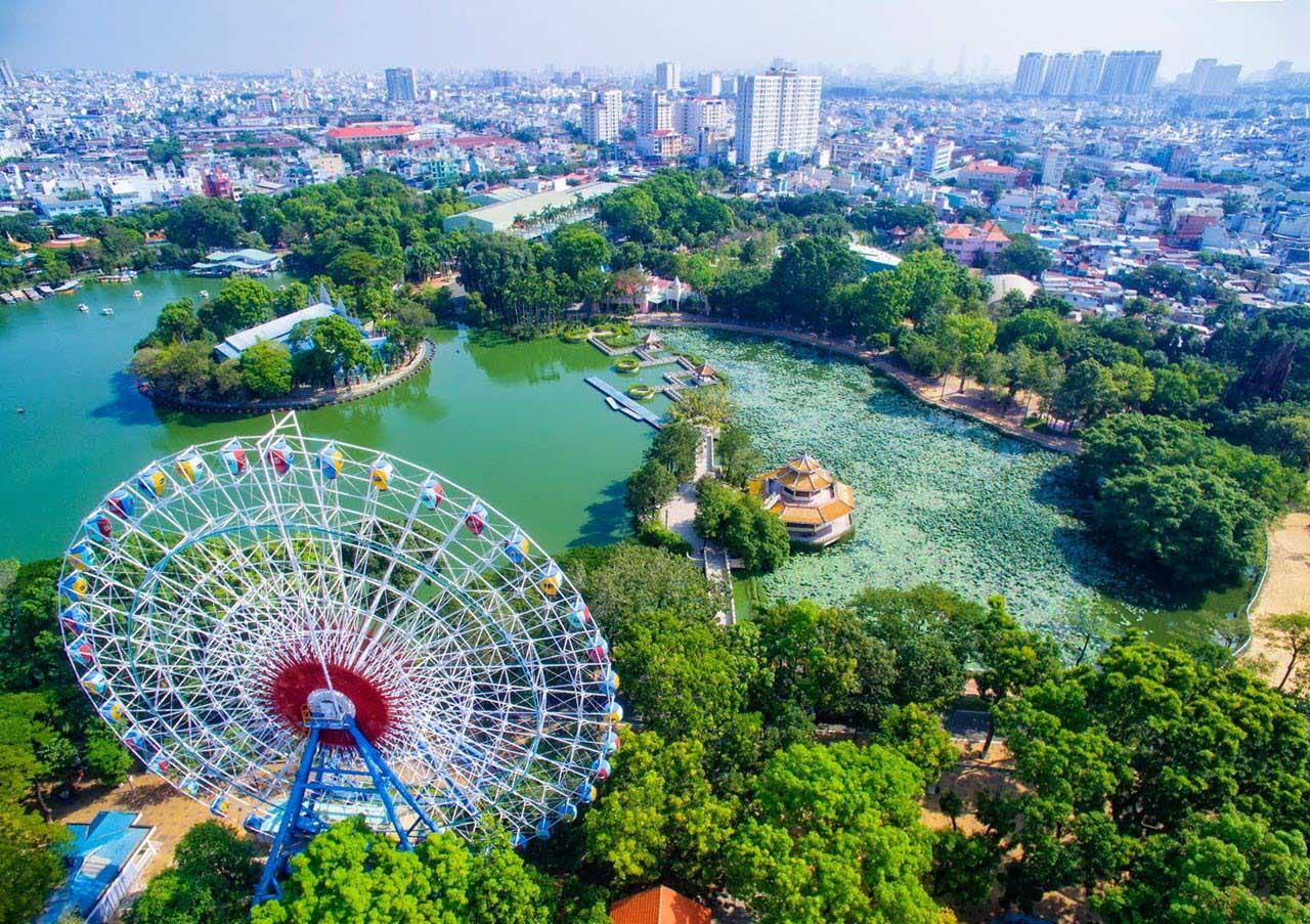 Ảnh đẹp công viên Đầm Sen-Sài Gòn nhìn từ trên cao