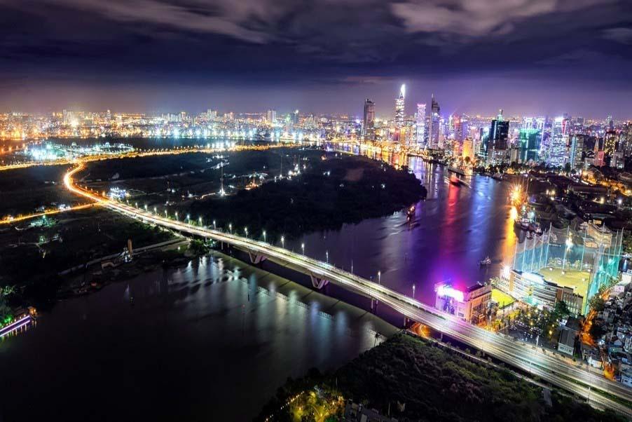 Ảnh đẹp Sài Gòn-Thủ Thiêm về đêm