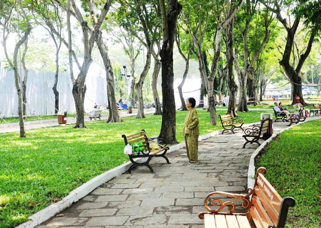 Hình ảnh công viên Sài Gòn sáng sớm