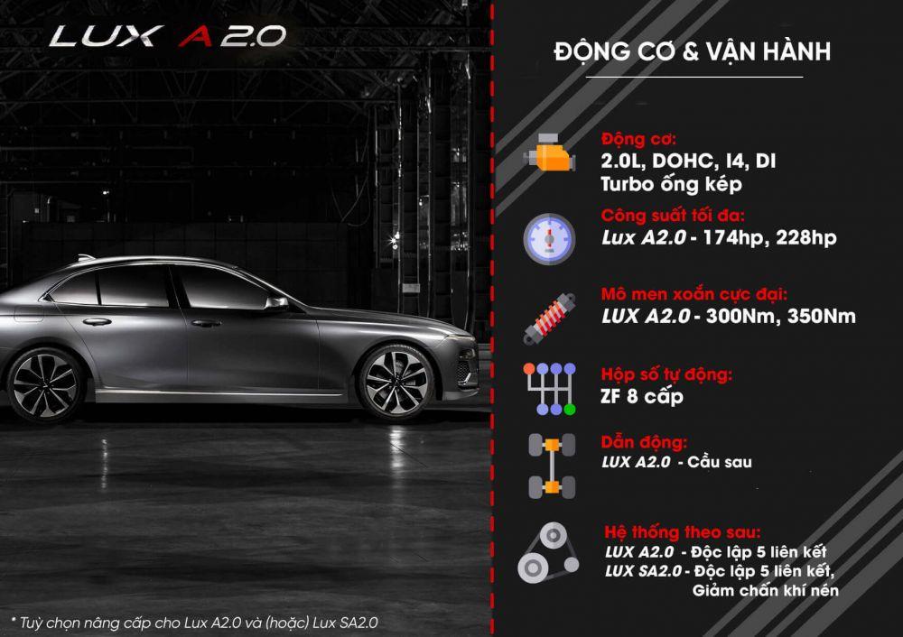 Động cơ, vận hành xe Ô tô Vinfast Lux A 2.0