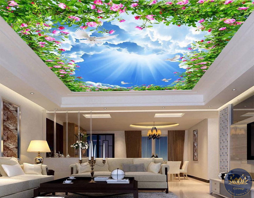Tranh dán trần nhà 3D bầu trời xuyên sáng
