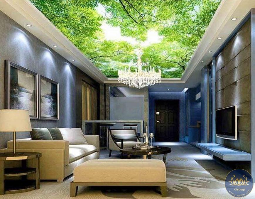 Tranh dán trần nhà 3D cây xanh phong cảnh thiên nhiên