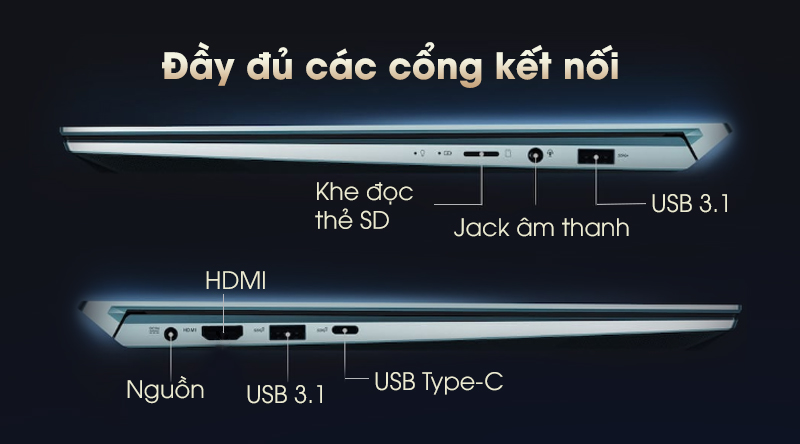 Laptop Asus ZenBook Duo UX481F có đủ các cổng kết nối