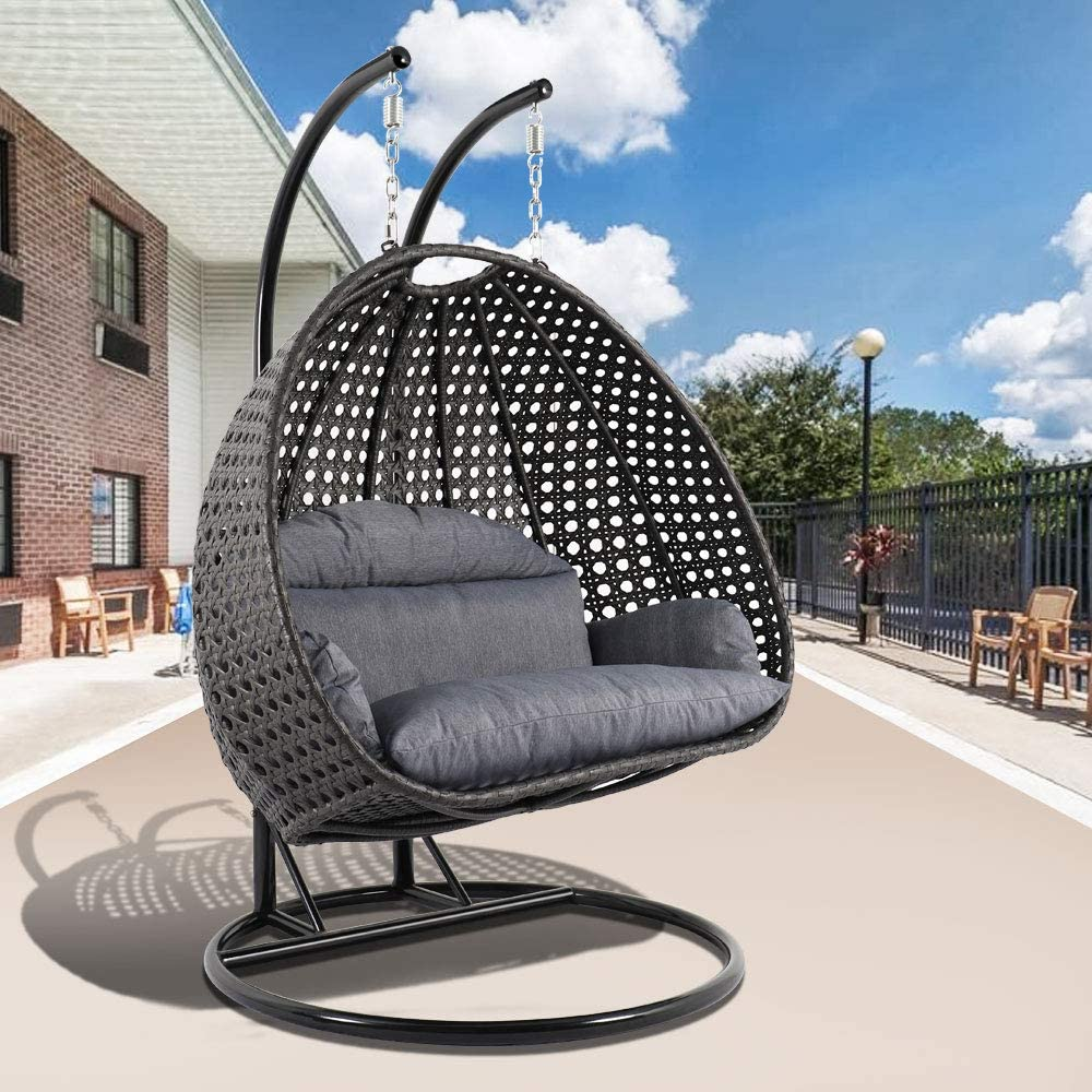 Amazon.com: LeisureMod Wicker 2 Person Double Hanging Swing Egg Chairs Patio Indoor Outdoor Use Lounge Chair (Charcoal Blue): Kitchen & Dining