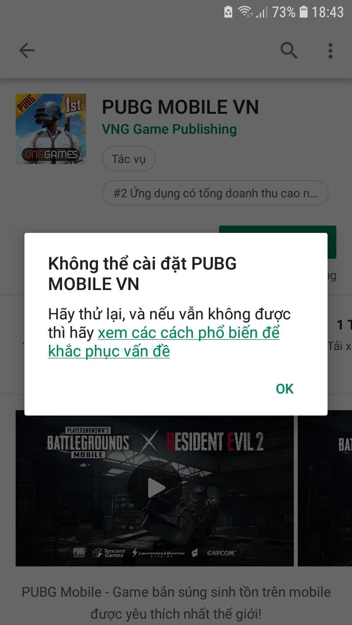 Không thể tải game về điện thoại