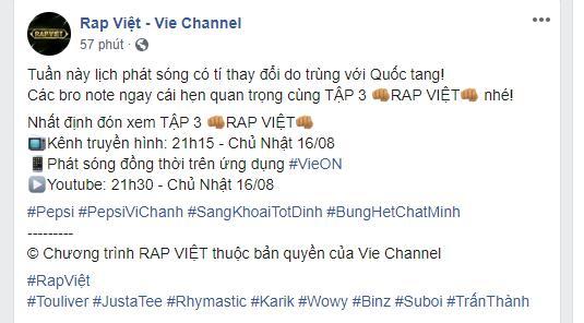 'Rap Việt' bất ngờ dời lịch phát sóng, khán giả 'hụt hẫng' vì phải tiếp tục đợi chờ