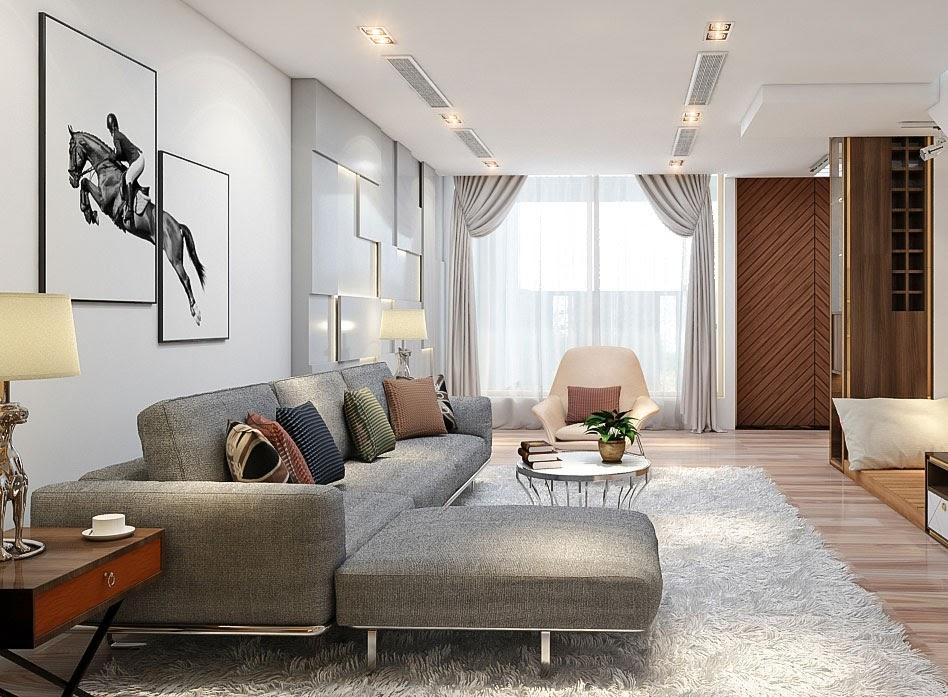Thảm trải sàn màu trắng nổi bật cho không gian phòng khách cấp 4