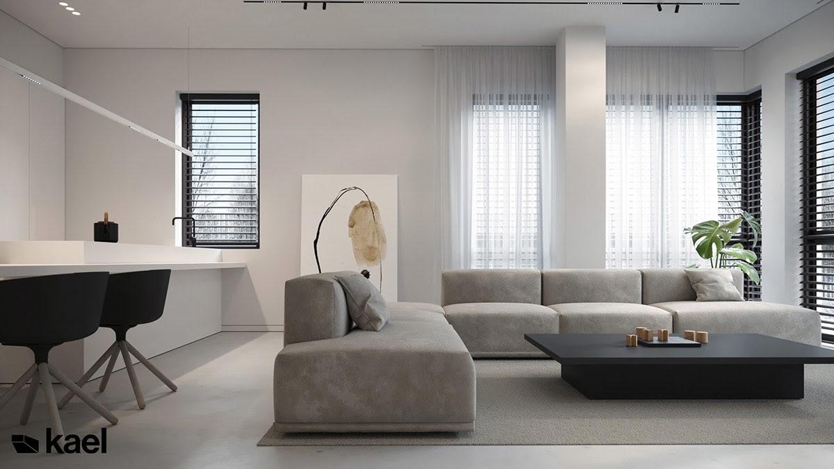 Ghế sofa chữ L có kích thước lớn màu xám lông chuột
