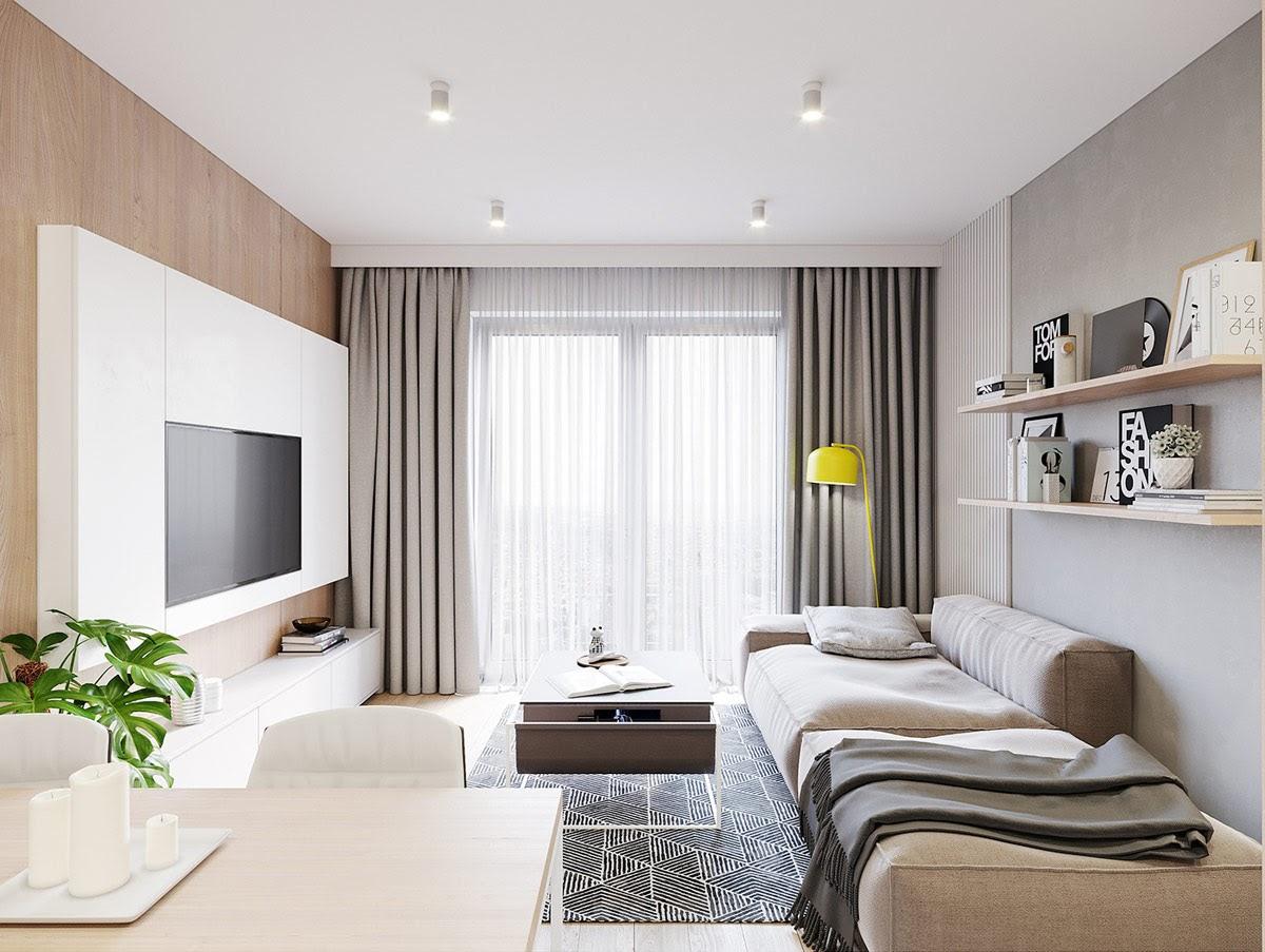 Phòng khách với thiết kế cửa chính lớn đón ánh sáng tự nhiên