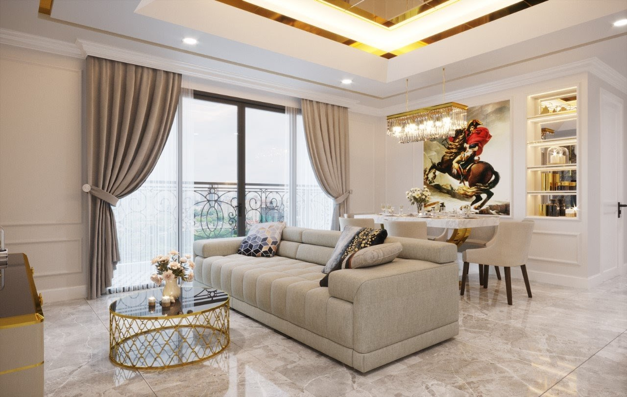 Thiết kế phòng khách nhà cấp 4 phong cách luxury sang trọng