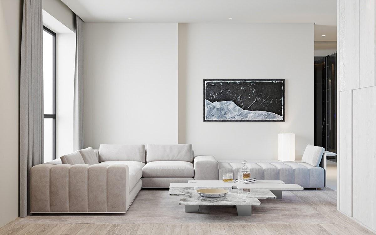 Phòng khách với phong cách tối giản màu trắng tinh tế