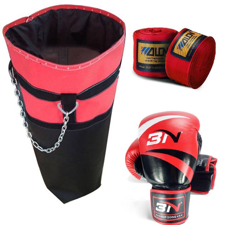 Set Vỏ bao cát trụ tập đấm bốc boxing mma + găng bao tay đấm bốc boxing mma + bằng đa boxing mma   Tiki
